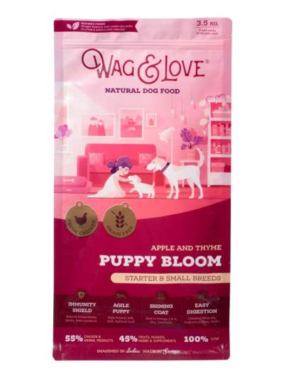 wag and love puppy bloom dog food
